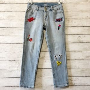 NY & Co SOHO Boyfriend Denim Jeans with Patches N1